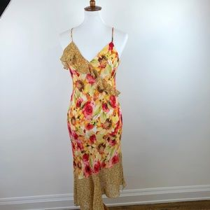Haute Hippie Yellow Floral Midi Dress, sz Medium